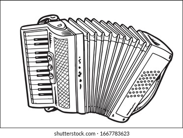 Accordion In Simple Style Isolated On White Background.