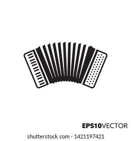 Accordion solid black icon. Glyph symbol of squeezebox and music. Musicalinstrument flat vector illustration.