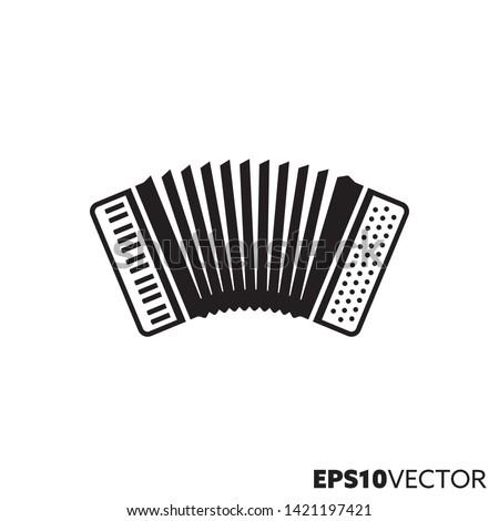 Accordion Solid Black Icon Glyph Symbol Stock Vector