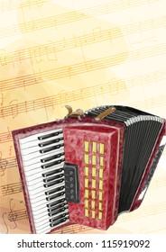 Accordion. Vector illustration. Watercolor imitation.