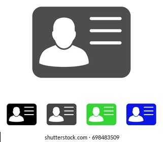 Account Card flat vector pictogram. Colored account card, gray, black, blue, green pictogram variants. Flat icon style for application design.