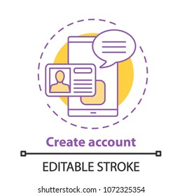 Account creating concept icon. New user registration idea thin line illustration. Profile adding. Vector isolated outline drawing. Editable stroke