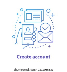 Account creating concept icon. New user registration idea. Thin line illustration. Authorization. Homepage. Vector isolated outline drawing