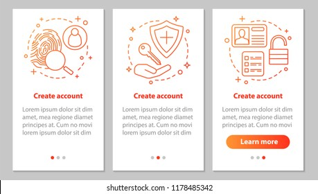 Account creation onboarding mobile app page screen with linear concepts. New user registration. Sign up. Authorization. Steps graphic instructions. UX, UI, GUI vector template with illustrations