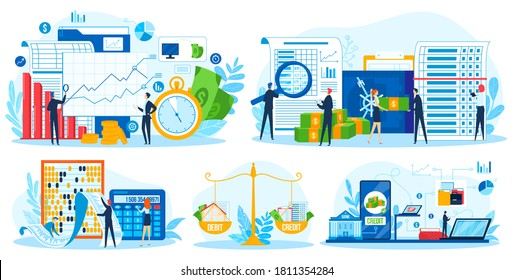 Account financial consultation vector illustration set. Cartoon flat tiny business people team consulting on audit, accounting budget report, finance data analysis, auditing tax isolated on white