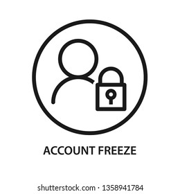 Account freeze, user with lock icon. Stroke outline style. Vector. Isolate on white background.