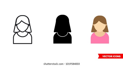 Account icon of 3 types: color, black and white, outline. Isolated vector sign symbol.