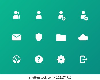 Account icons on green background. Vector.
