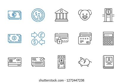 account icons set. Collection of account with biography, piggy bank, atm, credit card, calculating, currency, cash, pig, bank, dollar. Editable and scalable account icons.