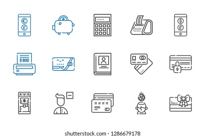 account icons set. Collection of account with card, saving, credit card, remove user, atm, debit card, biography, bill, currency, receipt. Editable and scalable account icons.
