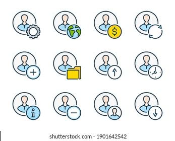 Account and Profile settings related vector line color icons. User preferences outline colorful icon set.