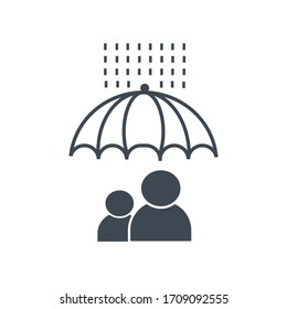Account protection. Risk management. Umbrella and persons . Vector illustrator.