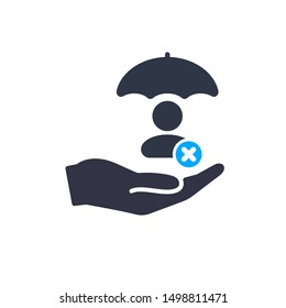 Account security sign. User with umbrella, protection concept icon with cancel sign, close, delete, remove symbol