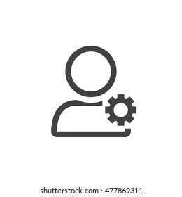 account settings symbol. user with gearwheel line icon, outline vector logo illustration, linear pictogram isolated on white