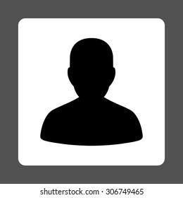 Account vector icon. This flat rounded square button uses black and white colors and isolated on a gray background.