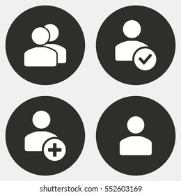 Account vector icon. White illustration isolated on black background for graphic and web design.