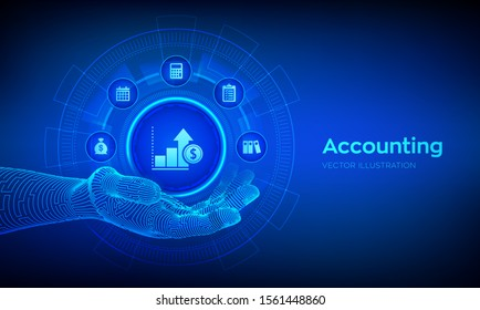 Accountancy service. Accounting symbol in robotic hand. Banking Calculation. Financial analysis, investments and business consulting concept. Online banking. Vector illustration.