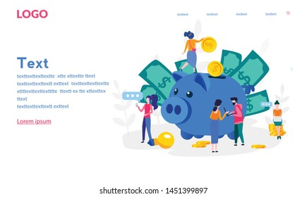 Accountant, business corporate finance concept, piggy bank indicators, financial accountant, Flat vector illustration. Tax. Auditing, business analysis. Calculation, vector illustration.