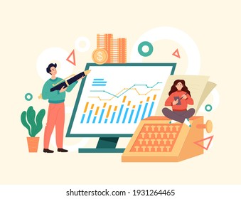 Accountant business people consulting economy concept. Vector simple modern style graphic design illusration