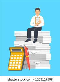 Accountant in business suit sits on stack of papers. Tax payment calculation concept. Accounting documents with calculator and pen. Vector flat illustration. Financial statements metaphor