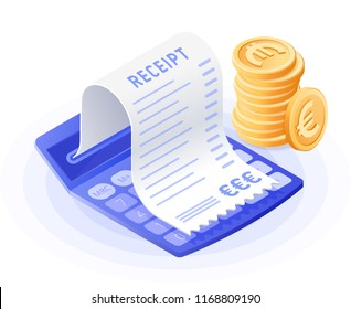 The accountant calculator, bill payment, stack of euros. Flat vector isometric illustration. The costs and expenses calculation, financial advising, finance control, audit, revision, business concept.
