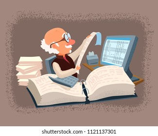 Accountant with glasses behind a working desk surrounded by files, papers, computer, calculator. A wise old man is reading, looking at the check. Vector cartoon style illustration.