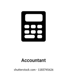 Accountant icon vector isolated on white background, logo concept of Accountant sign on transparent background, filled black symbol