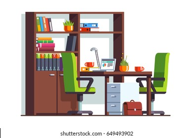 Accountant or lawyer office room interior design with desk, laptop computer, two chairs and wooden bookcase. Workplace furniture. Flat style vector illustration isolated on white background.