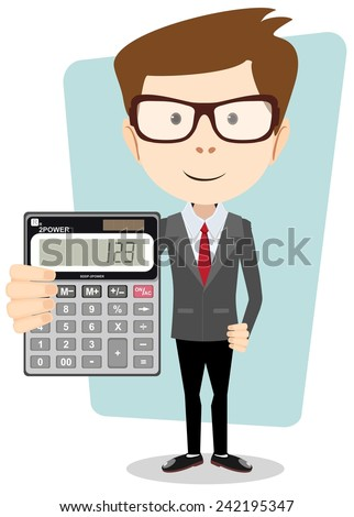 Stock illustration retirement on calculator shows elderly work.