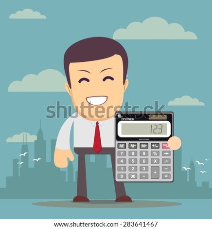 Accountant manager shows calculator work use stock illustration.