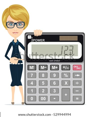 Accountant manager shows calculator work use stock vector (royalty.