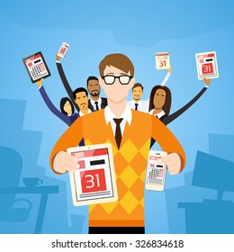 Accountant People Group Show Calendar Tablet Computer Digital Device Date Last Day Month Deadline Flat Vector Illustration