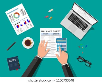 Accountant with report and a calculator checks money balance. Financial reports statement and documents. Accounting, bookkeeping, audit debit and credit calculations. Vector illustration in flat style