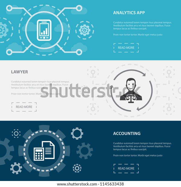 Accounting 3 Horizontal Webpage Banners Template Stock