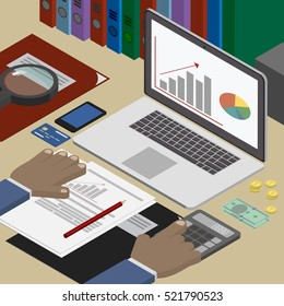 Accounting analyst at the workplace, accounting documents. Business and Finance. Workplace isometric