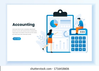Accounting and audit vector template. This design can be used for websites, landing pages, UI, mobile applications, posters, banners