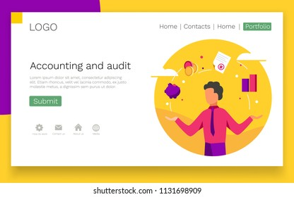 Accounting and audit web design concept. Modern colorful design. Landing page template. Vector illustration.