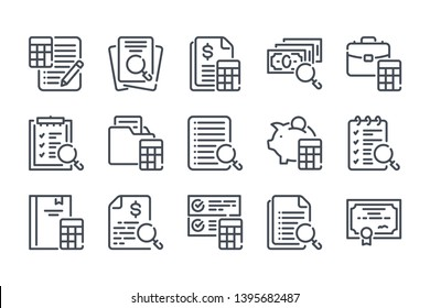 Accounting and auditing related line icon set. Calculations linear icons. Finance review outline vector signs and symbols collection.