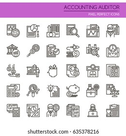 Accounting Auditor Elements , Thin Line and Pixel Perfect Icons