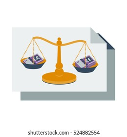 Accounting balance sheet with bank notes and scales vector illustration