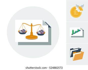 Accounting balance sheet with bank notes and scales and tax, profit and loss and folders icons vector illustration set
