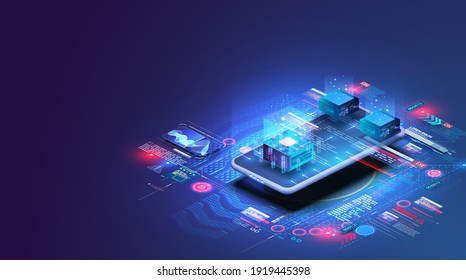 Accounting, big data, blockchain technology isometric, mobile phone data visualization. Digital blocks or cubes constructs database. Blockchain fintech technology and mining cryptocurrency. Vector
