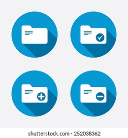 Accounting binders icons. Add or remove document folder symbol. Bookkeeping management with checkbox. Circle concept web buttons. Vector