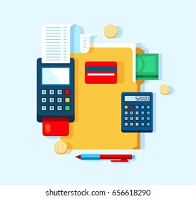 Accounting and bookkeeping vector illustration