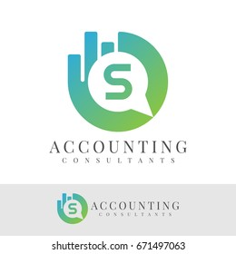 accounting consultants initial Letter S Logo design