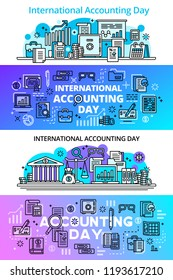 Accounting day banner set. Outline set of accounting day vector banner for web design