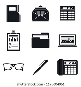 Accounting day icon set. Simple set of accounting day vector icons for web design on white background