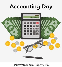 Accounting Day. November 10. Vector illustration for you design, card, banner, poster and calendar