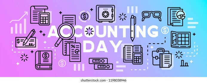 Accounting day tool banner. Outline illustration of accounting day tool vector banner for web design