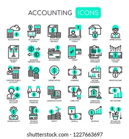 Accounting Elements , Thin Line and Pixel Perfect Icons